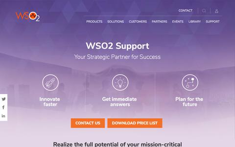 Screenshot of Support Page wso2.com - Support - captured Dec. 8, 2017