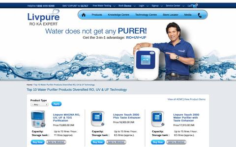 Screenshot of Products Page livpurewater.com - 10 Best RO Water Purifiers-Buy & Compare Purification Worth - captured Sept. 25, 2014