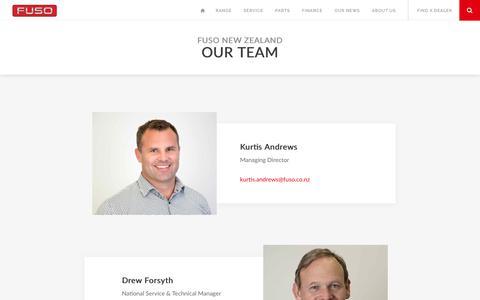 Screenshot of Team Page fuso.co.nz - The Fuso NZ Team | Fuso © NZ - captured Oct. 21, 2018
