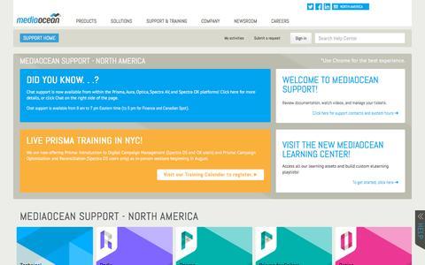 Screenshot of Support Page mediaocean.com - Mediaocean Support - North America - captured Dec. 4, 2015