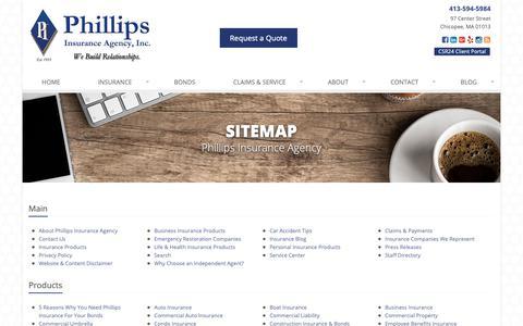 Screenshot of Site Map Page phillipsinsurance.com - Insurance Website Sitemap | Phillips Insurance Agency - captured Nov. 10, 2018
