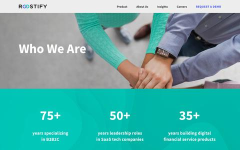Screenshot of About Page roostify.com - Who We Are — Roostify  |  Reinvent Lending. Realize Dreams. - captured Feb. 2, 2019