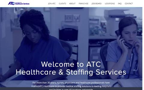 Screenshot of Home Page atchealthcare.com - ATC Healthcare | Medical Staffing Solutions - captured Oct. 8, 2015