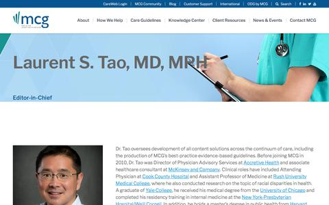 Screenshot of Team Page mcg.com - Laurent S. Tao, MD, MPH | MCG Health - captured Feb. 20, 2020