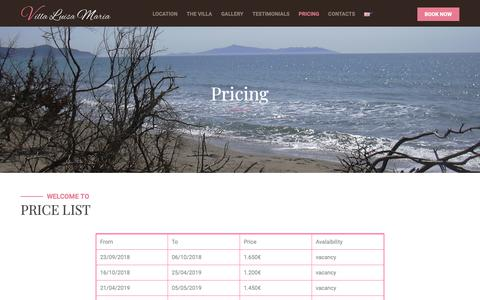 Screenshot of Pricing Page villaluisamaria.it - Pricing – Villa Luisa Maria - captured Nov. 30, 2018