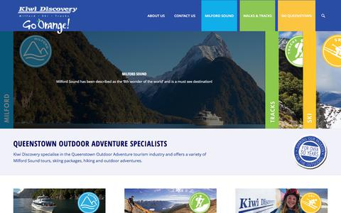 Screenshot of Home Page kiwidiscovery.com - Ski Packages Queenstown, Milford Sound NZ, Great Walks New Zealand - captured June 9, 2017