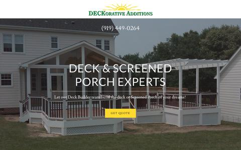 Screenshot of Home Page deckadd.com - DECKorative Additions - Deck, Screened Porch - captured Dec. 19, 2018
