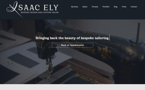 Screenshot of Home Page isaacely.com - Best Bespoke – Best Suits - captured Oct. 8, 2019