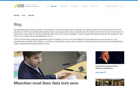 Screenshot of Blog cvn.be - Blog - CVN - Commissie Cultureel Verdrag Vlaanderen - Nederland - captured Feb. 1, 2016