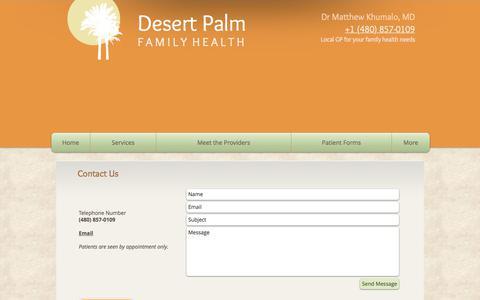 Screenshot of Contact Page desertpalmfamilyhealth.com - Desert Palm Family Health - Contact and Map - captured June 4, 2017