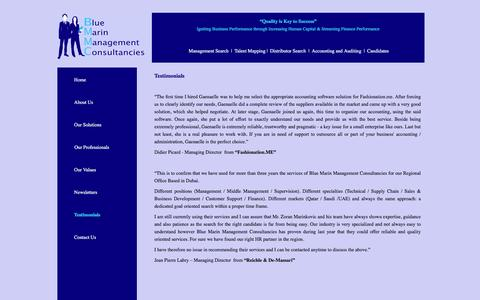 Screenshot of Testimonials Page bmdubai.com - Blue Marin Management Consultancies | Testimonials - captured Feb. 7, 2016