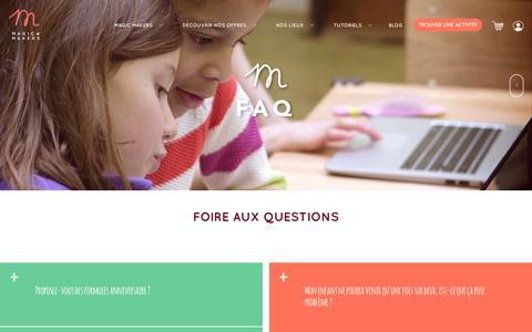 Screenshot of FAQ Page magicmakers.fr - FAQ   Magic Makers - captured May 17, 2017