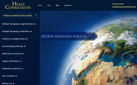 Screenshot of Home Page healyconsultants.com - Healy Consultants: Company registration, global banking - captured Jan. 28, 2016