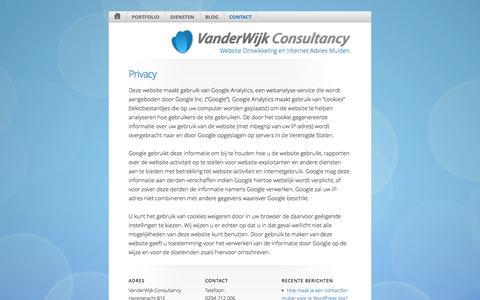Screenshot of Privacy Page vanderwijk.nl - Privacy - VanderWijk Consultancy - captured Oct. 27, 2014