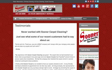 Screenshot of Testimonials Page soonercarpetcleaning.com - Testimonials | Sooner Carpet Cleaning | - captured Oct. 7, 2014