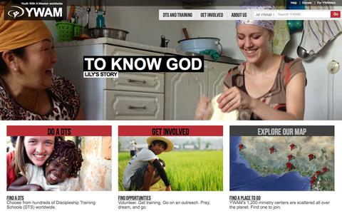 Screenshot of Home Page ywam.org - Youth With A Mission - captured Sept. 19, 2014