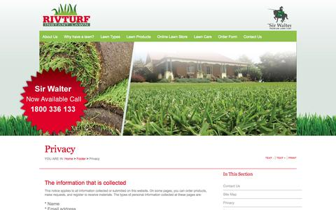 Screenshot of Privacy Page rivturf.com.au - Riv Turf - Quality Turf and Instant Lawn, Melbourne, Wagga Wagga | Privacy - captured Sept. 30, 2014