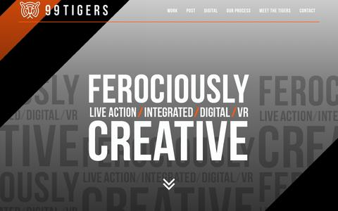 Screenshot of Home Page 99tigers.com - 99 Tigers – A Creative Agency - captured May 9, 2017