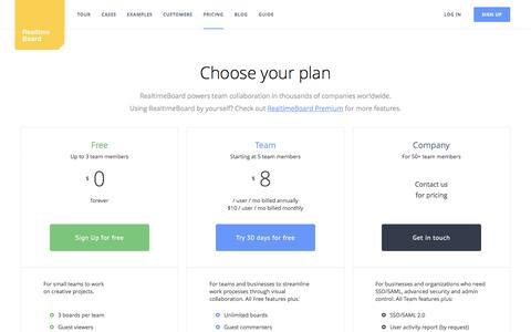 Screenshot of Pricing Page realtimeboard.com - RealtimeBoard Pricing Plans, Online Whiteboard | RealtimeBoard - captured Feb. 2, 2017