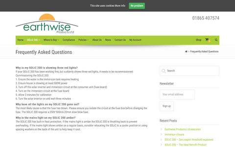Screenshot of FAQ Page earthwiseproducts.co.uk - Frequently Asked Questions – Earthwise Products - captured Oct. 19, 2016
