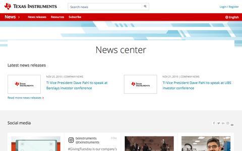 Screenshot of Press Page ti.com - Newsroom   English - captured Dec. 5, 2019