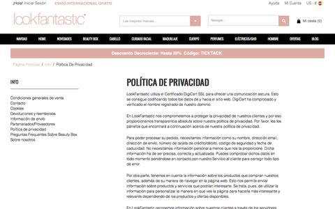 Screenshot of Privacy Page lookfantastic.es - Política de privacidad - Envío internacional gratis - captured Dec. 23, 2016