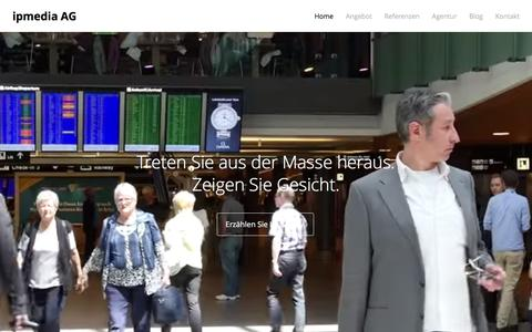Screenshot of Home Page ipmedia.ch - ipmedia AG – Video Content Marketing - captured Feb. 11, 2016