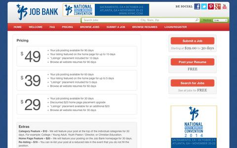 Screenshot of Pricing Page youthspecialties.com - Pricing - YS Job Bank - captured Sept. 22, 2014