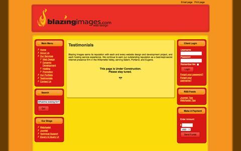 Screenshot of Testimonials Page blazingimages.com - Testimonials - captured Oct. 5, 2014