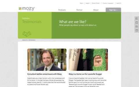 Screenshot of Testimonials Page mozy.com - Customer Testimonials | Mozy - captured Jan. 23, 2017