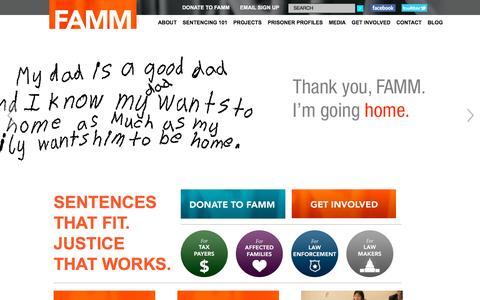 Screenshot of Home Page famm.org - FAMM - Families Against Mandatory Minimums - captured Oct. 23, 2015