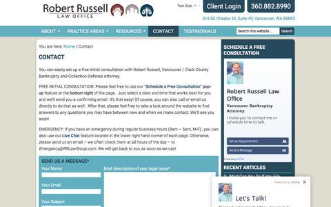 Screenshot of Contact Page robert-russell.com - Contact a Lawyer - Robert Russell Law Office - captured Oct. 22, 2017