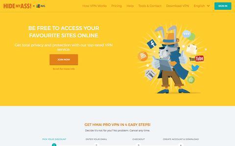 Screenshot of Home Page hidemyass.com - VPN Service - Top-rated VPN | Hide My Ass! - captured Jan. 22, 2017