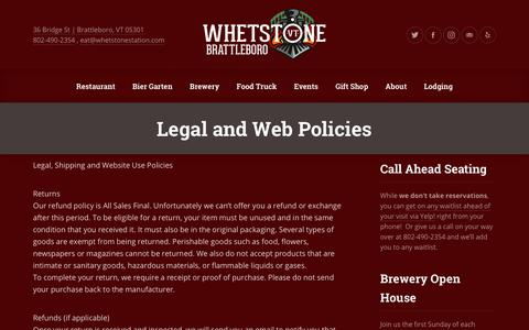 Screenshot of Terms Page whetstonestation.com - Legal and Web Policies - Whetstone Station Restaurant and Brewery - captured Oct. 20, 2018