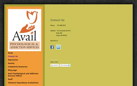 Screenshot of Contact Page availpsych.com - Contact Us | Avail Psychological and Addiction Services - captured Oct. 4, 2014