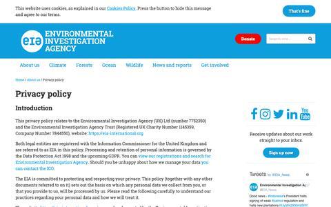 Screenshot of Privacy Page eia-international.org - Privacy policy – EIA International - captured Sept. 28, 2018