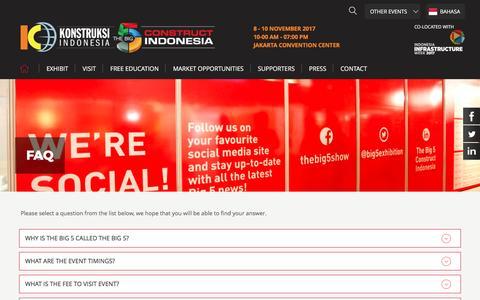 Screenshot of FAQ Page konstruksiindonesiabig5.com - FAQ - The Big 5 Construct Indonesia 2016 - captured March 11, 2017