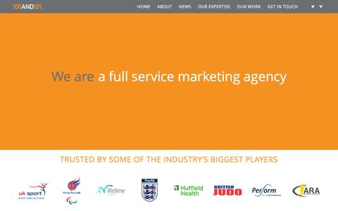 Screenshot of Home Page 110percent.co.uk - 100AND10% -A creative sports marketing, communications and event management agency based in south east England, London - captured Feb. 13, 2016