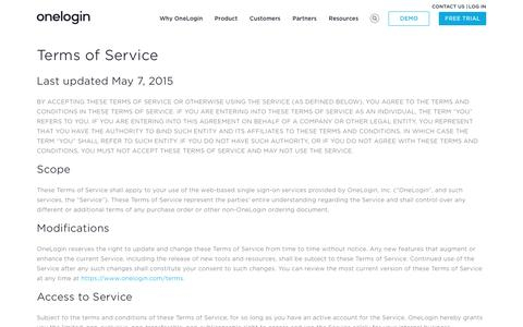 Terms of Service - OneLogin