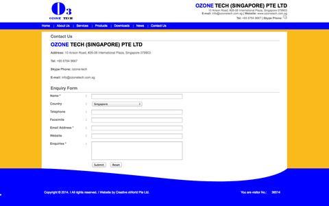 Screenshot of Contact Page ozonetech.com.sg - Ozone Tech (Singapore) Pte Ltd. - captured Oct. 26, 2014