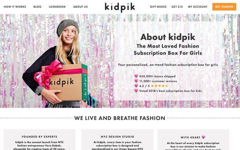 Screenshot of About Page kidpik.com - Girls Fashion Clothes Subscription Box | Childrens Designer Clothes | kidpik - captured Nov. 19, 2018