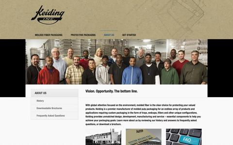 Screenshot of About Page keiding.com - About Us - Keiding, Inc. Custom Molded Fiber Manufacturer Milwaukee WI - captured Oct. 6, 2014