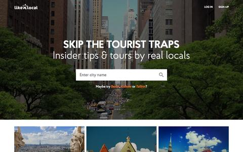 Screenshot of Home Page likealocalguide.com - Travel Tips From Real Locals - Like A Local City Guide - captured June 17, 2015