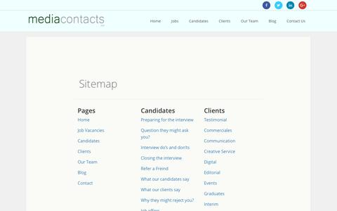 Screenshot of Site Map Page media-contacts.co.uk - Sitemap – Media Contacts - captured Oct. 18, 2017