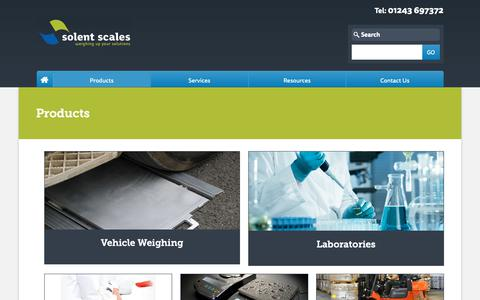 Screenshot of Products Page solentscales.co.uk - The Industries We Supply | Solent Scales - captured Oct. 18, 2018
