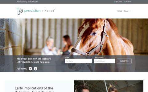 Screenshot of Press Page precisionscience.com - News - Precision Science - captured Aug. 21, 2017