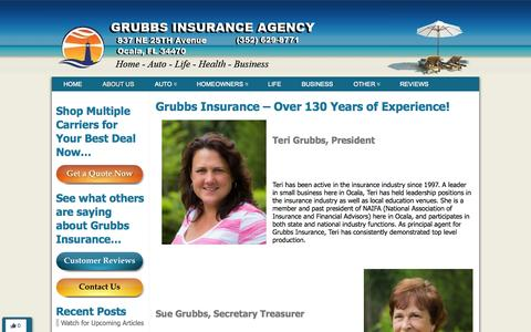 Screenshot of About Page ocalainsuranceresource.com - Grubbs Insurance Agency - Over 130 Years of Experience - captured Oct. 3, 2014