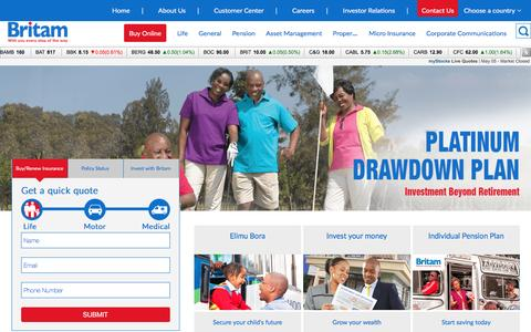 Screenshot of Home Page britam.com - Britam - With you every step of the way - captured May 7, 2017