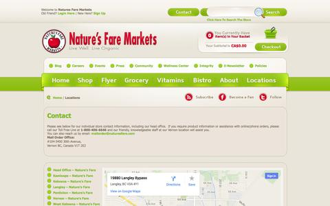 Screenshot of Contact Page Locations Page naturesfare.com - Locations «  Nature's Fare Markets - captured Oct. 25, 2014