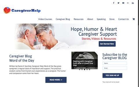 Screenshot of Home Page caregiverhelp.com - Caregiver Help - Caregiver Support - captured Nov. 4, 2018